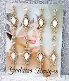 """Bridal Earrings Set of Four Bridesmaid by goddessdesignsgems, $80.00 This listing is for a """"Set of Four"""" pairs of earrings* """"Absolutely Gorgeous"""" these earrings feature a simply stunning chandelier drop """"designer inspired"""" fan style encrusted with an array of Austrian crystal stones. Earrings are post style, Gold plated and measure and approx 3"""" in length. Really pretty on, very elegant look!"""