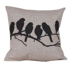 Vintage Home Decor Cotton Linen Throw Pillow Cover Multiple Birds, Green spruce