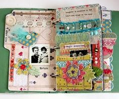 layers upon layers in a gorgeous chipboard journal mini book! love the colors!  teal, pink, green, vintage lace