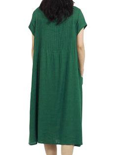 Women Short Sleeve O Neck Pocket Linen Loose Dress