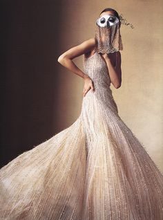 "Vogue US April 2000 ""How to Wear Couture"" Photographer: Irving Penn Fashion Editor: Phyllis Posnick Hair: Racine Makeup: Carole Lasnier Model: Maggie Rizer"