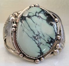 """SIGNED/STAMPED & TALL NAVAJO DRY CREEK TURQUOISE & STERLING SILVER BRACELET 67G"