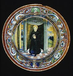 Bowl with Saint Nicholas of Tolentino Date: 1524 Culture: Italian, Gubbio Medium: Maiolica (tin-enameled earthenware), lustered Dimensions: H. 7 in. (17.8 cm), Diam. 13-1/2 in. (34.3 cm) Classification: Ceramics-Pottery Credit Line: Gift of V. Everit Macy, in memory of his wife, Edith Carpenter Macy, 1927 Accession Number: 27.97.22
