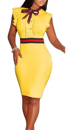 ac57f4633e XQS Womens Sexy Bow Tie Neck Sleeveless Bodycon Club Midi Dress Yellow S     Check