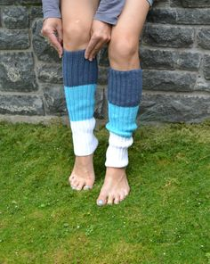 Knitted gaiters Blue Knit Gaiters Leg Warmers Yoga by skeinofwool. www.etsy.com/listing/242381101