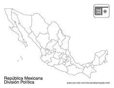 Mapa De La Repùblica Mexicana Con División Política Y Sin Nombres