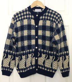Jayson Younger Vtg 100% Shetland Wool Blue Cat Squares Cardigan Sweater Unisex M #JaysonYounger