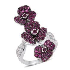 Ruby  Zircon Platinum Over Sterling Silver Ring Sz 7 TGW 2.687 Ct TGW 2.69 Ct-ST #ShopLC