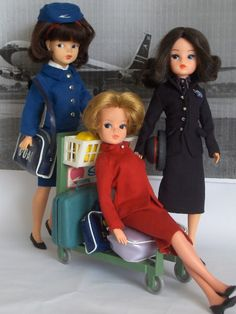 Three airline uniforms issued for Sindy  Lifes a Beach, and Then You - Sindy Our Pedigree Girl Of The 60's