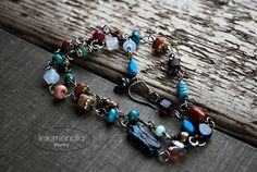 Colorful Gemstone Necklace Boho Beaded Stacking Wire Wrapped