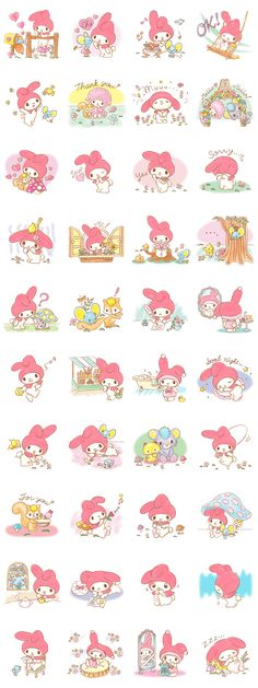My Melody stickers, as courtesy of Sanrio My Melody Wallpaper, Hello Kitty Wallpaper, Kawaii Stickers, Cute Stickers, Printable Stickers, Planner Stickers, Retro Poster, Sweet Stories, Planner Decorating