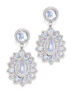 Pair of Platinum, Moonstone and Diamond Pendant-Earrings