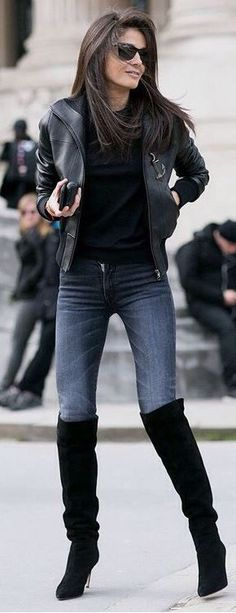 Leather jackets go great with any thigh high boots outfit! #WomensFashion