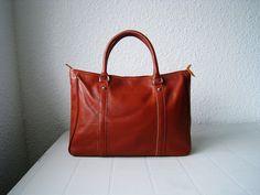 Leather tote bag brown--Adeleshop handmade Leather bag Messenger Diaper bag Shoulder bag Tote Handbag Hip bag Women. $150.00, via Etsy.
