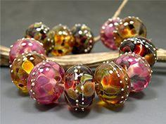 HANDMADE LAMPWORK Beads set Donna Millard spring summer 2012 pink rose gold Roza. $45.00, via Etsy.