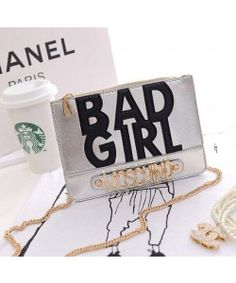 Moschino Bad Girl Leather Clutches Wallet Silver