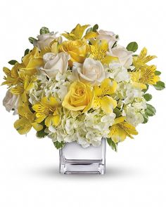 cool Sweetest Sunrise Bouquet, This sparkling array of sunny favorites in a silver cube vase will be the star of any room. It's a sweet gift she'll love to receive - and you'll be proud to give. Sweet price, too. , http://sendflowerstocalgary.com/product/sweetest-sunrise-bouquet-send-flowers-to-calgary-by-calgary-flowers/, 69.95