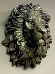 LARGE Bronze Effect Handsome Lion Head Bust Wall Art Sculpture Vintage Retro NEW | Wall Hangings | Home Decor - Zeppy.io