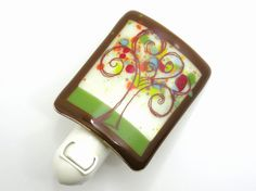 Fused Glass Night Light - Spring Love Tree from Wood And Glass on Etsy