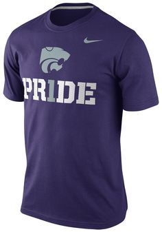 Kansas State Wildcats Nike T-Shirt - Mens Purple Team Pride T-Shirt… Nike Outfits, School Outfits, Kansas State University, Kansas State Wildcats, School Clothing, Nike T Shirt Mens, Purple T Shirts, Pink Nikes, Sports Luxe