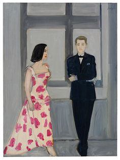 Alex Katz, Don and Marisol II, oil on linen, 60x44in,1960