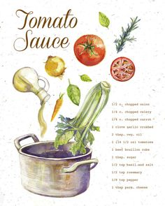 My illustration work ranges from spot illustration, editorial spreads, and product design. Tomato Sauce Recipe, Sauce Recipes, Cooking Recipes, Rib Recipes, Easy Recipes, Cabbage Recipes, Vegan Recipes, A Pontenova, Recipe Drawing
