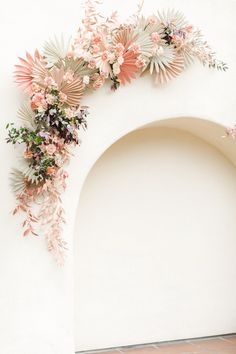 Peach and sage painted paper fans in an arch shape on the ceremony backdrop with roses and pink painted greenery by The Dainty Lion, Estancia La Jolla Garden Courtyard wedding by Cavin Elizabeth Photography Paper Wedding Decorations, Wedding Paper, Wedding Centerpieces, Decor Wedding, Ceremony Decorations, Wedding Ideas, Whimsical Wedding, Floral Wedding, Wedding Colors