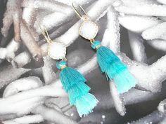 Opal mint tassel earrings, Trendy jewelry, Crystal dangles, Summer trends, Dainty gold drops, Boho jewelry, Gypsy drops, Mother's day gift. Trendy Jewelry, Boho Jewelry, Unique Jewelry, Summer Trends, Tassel Earrings, Gypsy, Tassels, Opal, Dangles