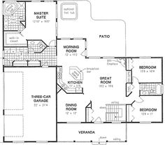 House Plan 58545 | Ranch Plan with 2022 Sq. Ft., 3 Bedrooms, 2 Bathrooms, 3 Car Garage at family home plans