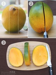 how to cut mango steps 1 2 3 - how have I lived so much of my life without this diagram?!