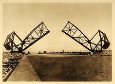 This is an original 1926 photogravure of the bascule or moveable bridge at Sault Ste. Marie in Ontario Province, Canada. (Please note that there is printing on the reverse.) Period Paper is pleased to Sault Ste Marie, Old Street, Original Image, Ontario, Trains, Michigan, Period, Connection, Old Things