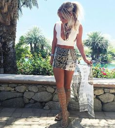 Cute and sexy summer outfit with gladiator sandals