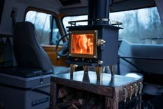 How to Easily Install a Wood Stove in a Camper Van - Outbound Living Rv Wood Stove, Mini Wood Stove, Wood Stoves, Small Wood Burning Stove, Small Stove, Short Bus, Rocket Stoves, Log Burner, Van Camping