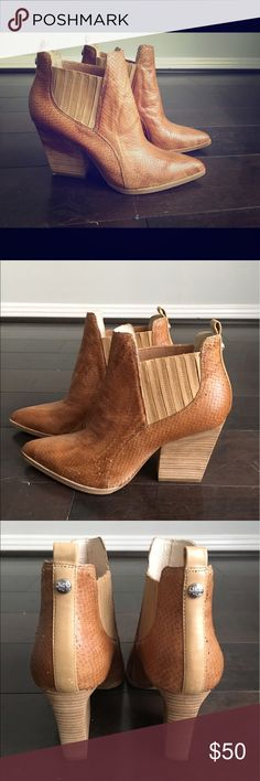 Donald j plainer camel booties These western style booties are perfect year round! Pointy toed with a chunky wood stacked heel and a lizard emboss to give super cool texture!! Donald J. Pliner Shoes Ankle Boots & Booties