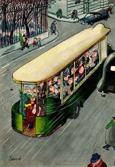 """Nothing like happy commuters. """"Comment on s'enrhume... en 12 images"""", 1957, Jean-Jacques Sempé"""