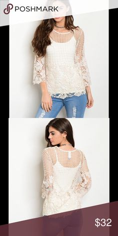 "NWT IVORY CROCHET TOP IVORY CROCHET TOP!!  3/4 sleeve scoop neck crochet top. Does not include lining. Fabric Content: 100% POLYESTER Measurement: L: 24"" B: 15"" W: 15"" Tops"