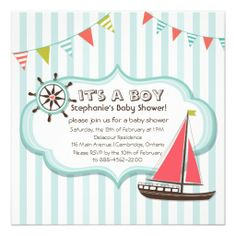 Blue Nautical Party Banner Baby Shower Invitation