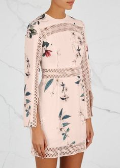 KEEPSAKE blush chiffon mini dress  Light Garden floral print, lace inserts and trim, split cuffs, partially lined Concealed zip fastening at back  100% polyester; lining: 100% polyester