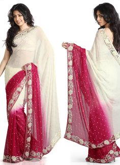 Astounding Dual Shaded Pure Georgette Saree