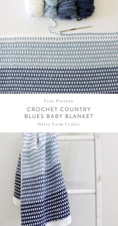 Free Pattern – Crochet Country Blues Baby Blanket Free Pattern – Crochet Country Blues Baby Blanket,Daisy Farm Crafts Free Pattern – Crochet Country Blues Baby Blanket There are images of the best DIY designs. Crochet Afghans, Crochet Diy, Manta Crochet, Crochet Blanket Patterns, Baby Blanket Crochet, Crochet Crafts, Crochet Stitches, Knitting Patterns, Crochet Blankets