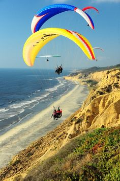 Paragliding at Torrey Pines Gliderport, La Jolla  Would like to go back there and do this again.