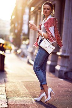 Kristina wearing hm jeans, iro jacket, kymerah top, jimmy choo clutch, michael korts shoes.