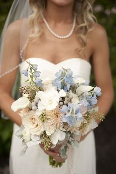 Light Blue Wedding Flowers | Beach Chic Light Blue and Peach Wedding | Flowers