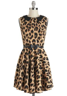 Feline Like a Star Dress by Darling - Mid-length, Animal Print, Bows, Peter Pan Collar, Belted, Casual, A-line, Sleeveless, Collared, Multi, Tan / Cream, Black
