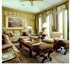 Merci Howard Slatkin for this fabulous pool house in Palm Beach covered in Le Manach fabrics !