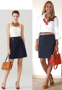 Neutrals with a pop of color. Navy skirt. White button-down. Coral necklace and handbag/purse. Cognac/brown/tan/deer heels/pumps/shoes.