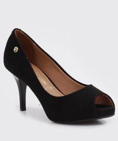 Sapato Feminino Peep Toe Vizzano Meia Pata Salto Alto Branco