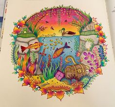 Underwater page from Enchanted Forest (Prismacolor pencils and some gel pens)
