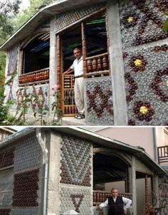 Plastic bottle house in Serbia  Who knew plastic bottles could look so pretty!