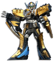 The Ptera Zord is the sentient personal Zord of the Dino Charge Gold Ranger. It possesses the spirit of the Pterodactyl that was given the gold Energem 65 million years ago, just before Sledge's ship electro-net was disabled when his ship was bombed and the meteors therein caused the dinosaur extinction. He is one of two Zords (and Megazord) that were not destroyed by the Black Hole in Dino Extinction.